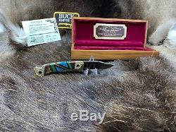 Buck David Yellowhorse 112 Couteau Pronghorn Personnalisé Menthe Dans Une Vitrine Coa