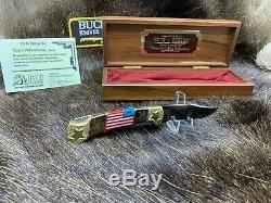 Buck David Yellowhorse 112 Personnalisés Old Glory Couteau Menthe Présentoir Coa