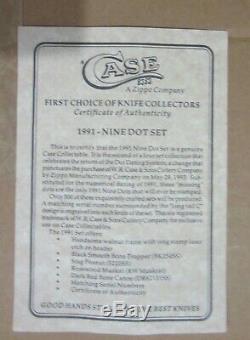 Cas XX 1991 9 Dot 4 Ensemble De Couteaux Mint Noyer / Affichage Verre Coa 1 500 Htf