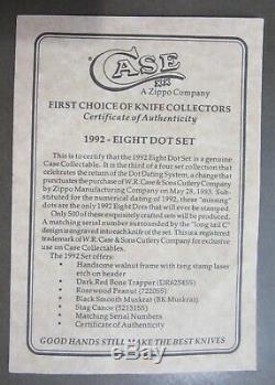 Cas XX 1992 8 Dot 4 Ensemble De Couteaux Mint Noyer / Affichage Verre Coa 1 500 Htf