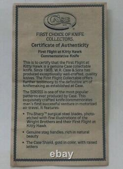Case XX Hunter Stag 5265 Ss Knife First Flight Wright Brothers Avec Display & Coa