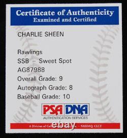 Charlie Sheen A Signé Oml Baseball Avec Vitrine (psa Coa Graded 9)