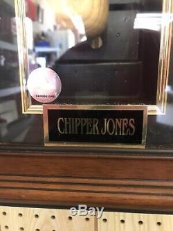 Chipper Jones Signé Bat Big Stick Rawlings Coa Et Cas D'affichage