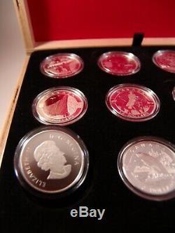 Coffret De 12 Pièces Full Canada O, Argent Canada, 10 $, 2013, Avec Vitrine Et Preuve De Coa