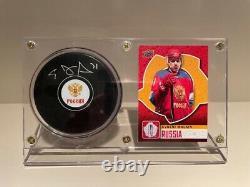 Coupe Du Monde De Hockey 2016 Evgeni Malkin Puck Autographié Avec Coa + Cas D'affichage
