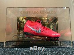 Cristiano Ronaldo Signé Juventus Football Boot Madrid Portugal Présentoir Coa