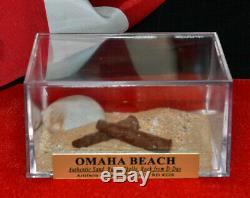 D-day Normandie Omaha Plage De Sable, Bullet Obus Affichage, Case Stamp Journaux Coa