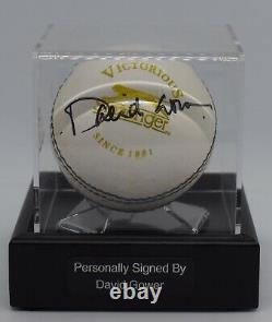 David Gower Signé Cricket Autograph Ball Présentoir Angleterre Ashes Aftal Coa