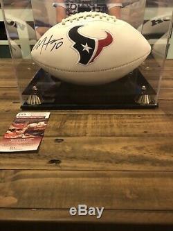 Deandre Hopkins Signé Football Autograph Avec Affichage De Cas Jsa Houston Texans Coa