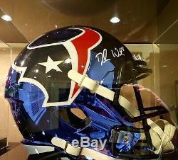 Deshaun Watson Chromé Signé Règlement NFL Taille Casque Withcoa Et Affichage De Cas
