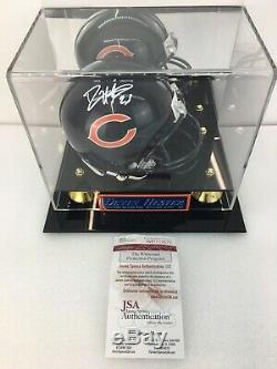 Devin Hester Chicago Bears Signé Autograph Mini Casque Jsa Coa / Case D'affichage