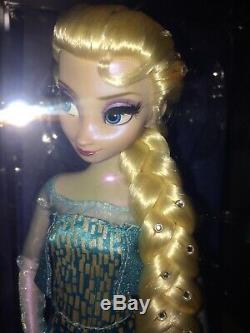 Disney Designer Poupée Frozen Elsa W Diamants Dans Les Cheveux, Vitrine Et Coa Redressé