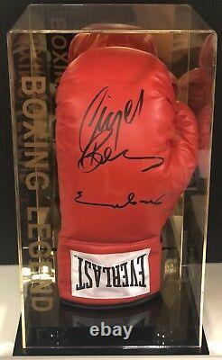 Dual Signé Chris Eubank & Nigel Benn Gant De Boxe Avec Display Case Rare Coa