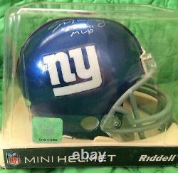 Eli Manning Super Bowl XLVI Mvp Autographié Mini Casque Withcoa & Vitrine
