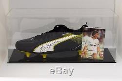 Emilio Butragueno Présentoir De Chaussures De Football Autographié, Real Madrid Coa
