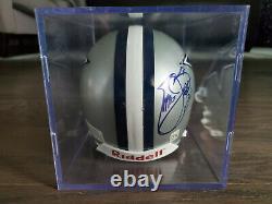 Emmit Smith Autographié Dallas Cowboys Riddell Mini Casque-affichage Case-no Coa