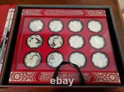 Ensemble Complet Avec Vitrine. Canada Silver Lunar Lotus Coin Series Avec Coa