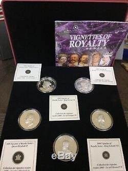 Ensemble De 5 Pièces Vignettes Of Royalty En Argent Sterling 2009 Dans Des Certificats D'authenticité