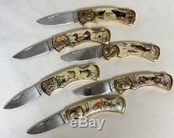 Ensemble De 6 Couteaux Pliants Franklin Mint Sportsman Avec Vitrine Et Accessoires D'authenticité