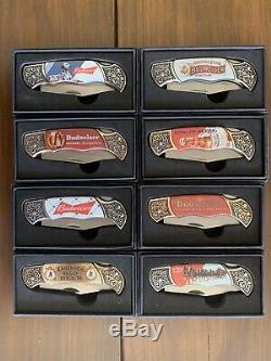 Ensemble De 8 Budweiser Collection De Couteaux Avec Affichage Gratuit Avec Chaque Coa Case-