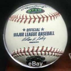 Ernie Banks Chicago Cubs Hof Signé Baseball Avec Affichage En Bois Cas Auto Djr Coa
