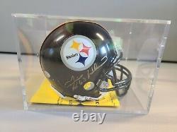 Ernie Holmes Pittsburgh Steelers Signé Mini Casque Authentique Boîtier D'affichage Coa