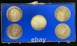 États-unis Mint 5 Morgan 90% Silver Dollar Set Dans Le Boîtier D'affichage Avec Coa