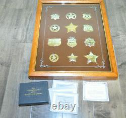 Franklin Mint Officiel Argent Insignes Western Lawmen, Avec Affichage De Cas Coa Documents