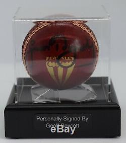 Geoff Boycott Signé Cricket Autograph Ball Présentoir Angleterre Aftal Coa