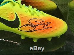 Gylfi Sigurosson Signé Football Boot Everton Islande Dans Un Cas D'affichage Coa