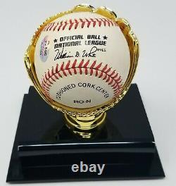 Hank Aaron Signé Rawlings Nl Wm. White Baseball Sgc Coa 490 Display Case