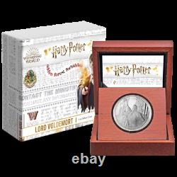 Harry Potter Voldemort 1oz Proof Silver Coin In Wooden Display Case With Coa