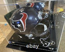 J. J. Watt Signé Auto Replica Full-size Football Helmet & Display Case Jsa Coa
