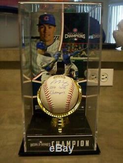 Javier Baez Autographié 16 Ws Champs De Baseball Avec Affichage De Cas Et Coa