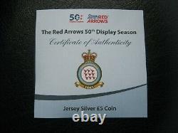 Jersey 2014 £5 Livre D'argent Pièce De Preuve Flèches Rouges 50ème Affichage Saison Case Cao