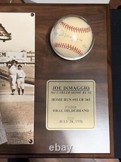 Joe Dimaggio Baseball Autographié #d 93/361 Coa Avec Boîtier D'affichage Edition Limitée