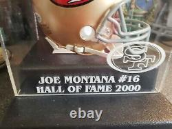 Joe Montana Mini Casque Autographié Avec Boîtier D'affichage Hof Personnalisé Beckett Coa