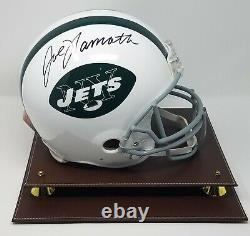 Joe Namath A Signé New York Jets Tb F/s Authentic Helmet Jsa Coa 887 Display Case