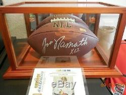 Joe Namath Autographié NFL Football Avec Affichage De Cas Et Coa Gia
