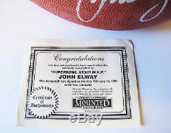 John Elway Superbowl 33 XXXIII M. V. P. 1999 Football En Vitrine Avec Coa