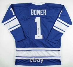 Johnny Bower A Signé Jersey Avec Boîtier D'affichage, Inscrit Hof 76 (beckett Coa)