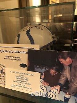 Johnny Unitas Signé Colts Mini Casque Double Oce Cas Affichage
