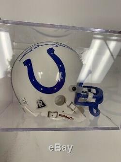 Johnny Unitas Signé Colts Mini Casque Oce Cas D'affichage