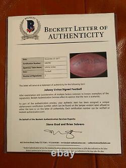 Johnny Unitas Signé NFL Football Beckett Coa Baltimore Colts Avec Vitrine
