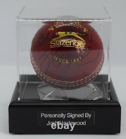 Josh Hazlewood A Signé Autograph Cricket Ball Display Case Australie Aftal Coa
