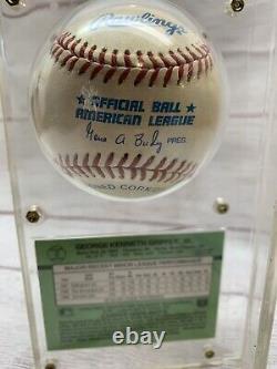 Ken Griffey Jr Autographed Baseball Avec Coa & 1989 Rookie Card Dans Le Cas D'affichage