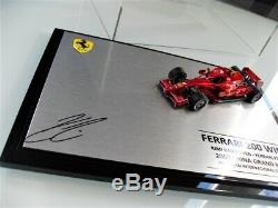 Kimi Raikkonen Signé À La Main 1/43 F2007 Ferrari 200 Victoire Coa Proof