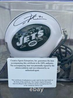 Ladainian Tomlinson New York Jets Signé Riddell Mini Casque Avec Coa Et Boîtier D'affichage