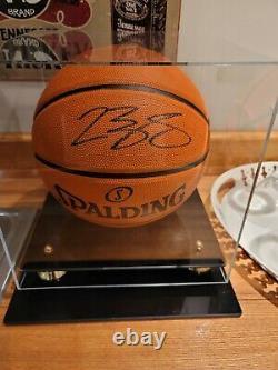 Lakers Lebron James Signé Spalding Nba De Basket-ball En Cuir Affichage Coa Cas Cavs