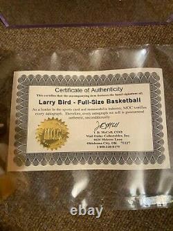 Larry Bird Autograph Full Size Spalding Basketball Nba Avec Coa Et Vitrine